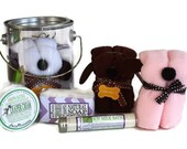 Baby Gift Set / Organic Diaper Cream / Baby Bath Milk / Lavender Soap Bar / Puppy Wash Cloth / Baby Gift Pail