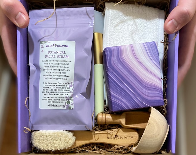 Spa Gift Set, Personalized Spa Facial Gift Set, Clay Masks, Face Steam, Face Care Gift for Women