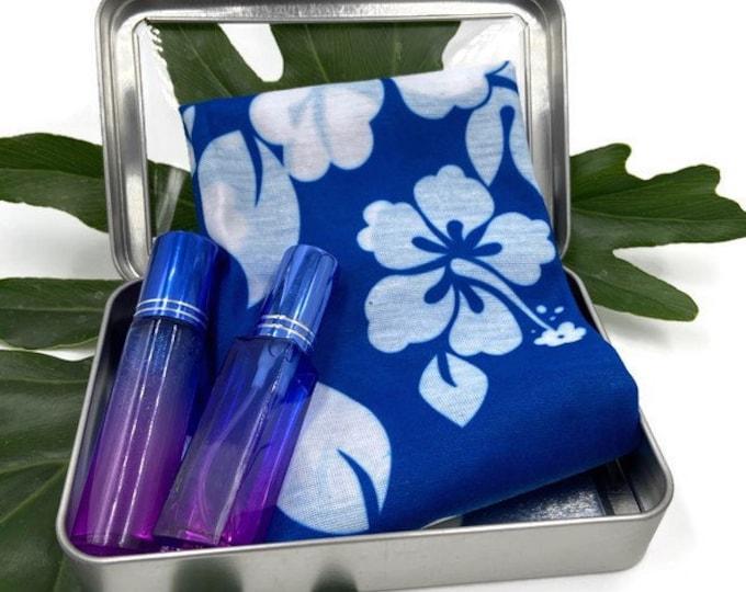 Hawaiian Blue Floral Neck Gaiter, Coworker Gift