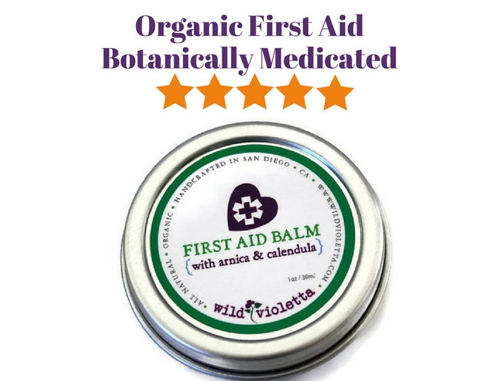 First Aid Organic Healing Balm for cuts, burns, bruises, scrapes