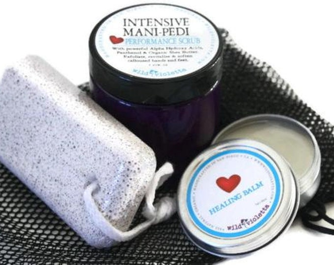 Home Spa Pedicure care package / Gift for Men / Foot Scrub, Callus Removing, Natural Healing Balm Gift for Him