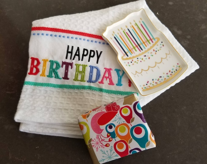 Birthday gifts for her, Hand crafted Shea Soap Bar, Tea Towel and Cake Tray