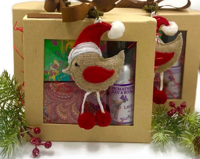 Spa Christmas Gift Box Soap Bars and Room Spray, Coworker Gift
