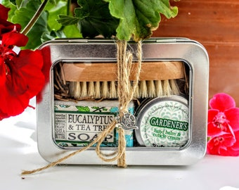 Gardener's Tin / Gifts for Her / Shea Soap, Nail Brush and Healing Hand Balm and Cuticle Cream