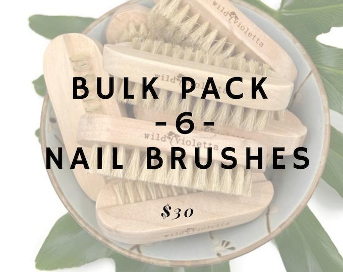Bulk Nail Brush Pack of 6, Natural Wood Fingernail Brush, Eco Friendly Set