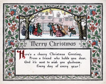 Merry Christmas - Vintage Christmas Postcard Art