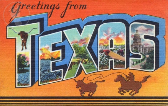 Greetings from texas vintage large letter postcard giclee etsy image 0 m4hsunfo