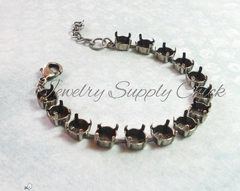39ss 8.5mm Antique Silver empty cup chain bracelet