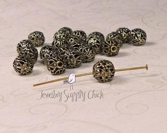 Filigree bead 7mm brass ox (x12+)