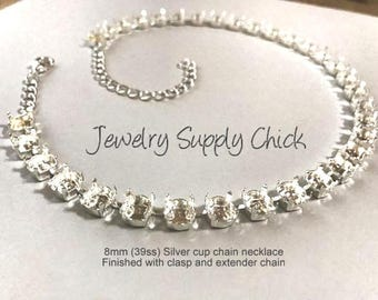 39ss (8.5 mm) Silver empty cup chain necklace