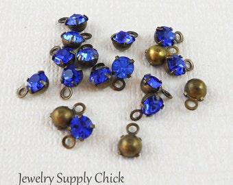 Sapphire Swarovski crystal 4mm drop setting