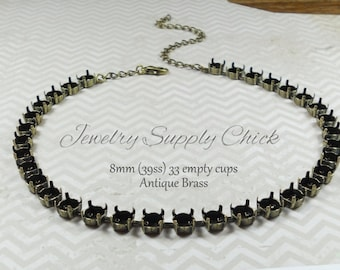 39ss (8.5mm) Antique Brass empty cup necklace