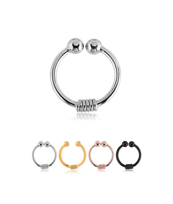 PVD Coated 316L Surgical Steel Fake Septum Clip On Nose Ring Spring Hoop