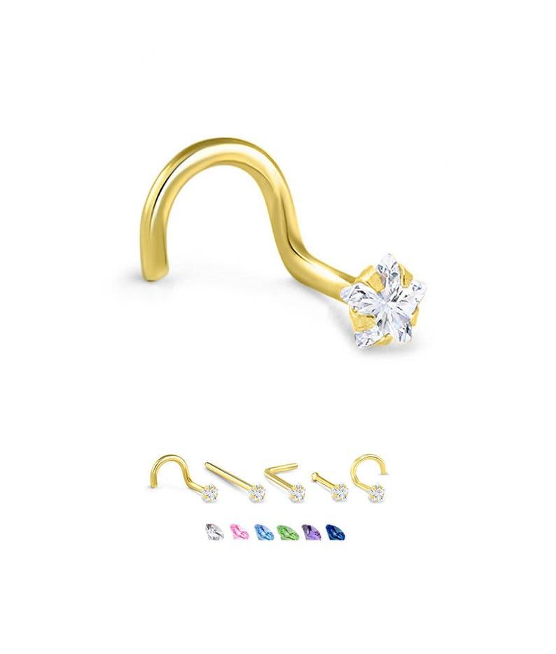 14K Rose Gold Nose Ring Stud Screw L Bend Bone CZ 20G 18G 22G
