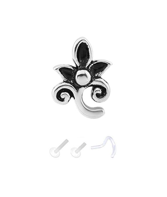 Bioflex Labret Style Push Pin Nose Stud or Nose Screw 6.5mm Clear Flower 18G 16G