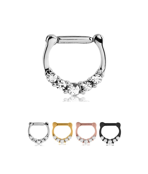 Rose Gold PVD Coated 316L Surgical Steel Septum Clicker Helix Nose Ring 14G 16G