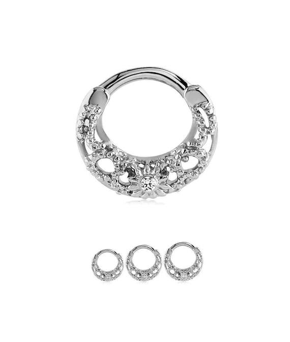 "100/% Surgical Steel Septum Clicker Nose Ring Ear Cartilage CZ 1//4/"" 16G"