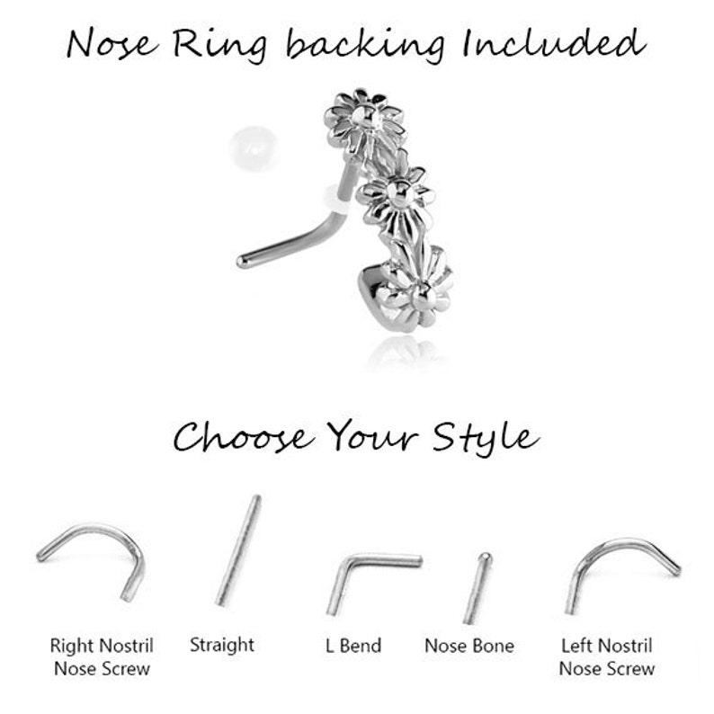 925 Sterling Silver Nose Hugger\u00ae L Bend Straight Stud Nose Screw Nose Ring L Shape Flower Design- Choose Your Style /& Gauge.
