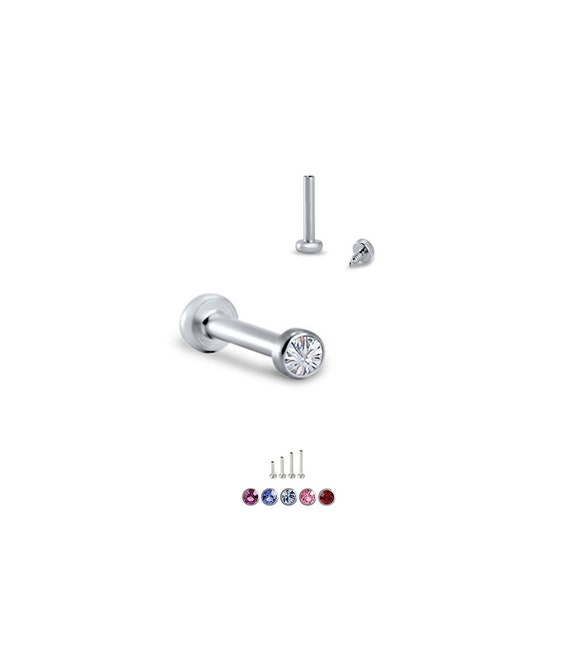 316L Surgical Steel Nose Stud Ring Bone 2mm Gem Bezel Gauge 18G 20G