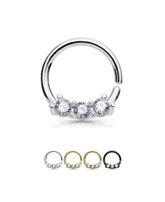 316l Surgical Steel Black Gold Rose Gold Nose Ring Hoop Etsy