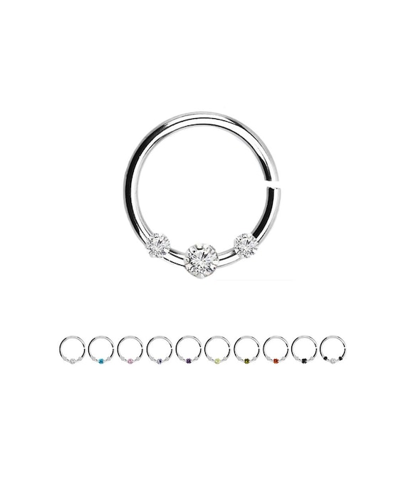 18KT Gold Plated Sterling Silver Nose Ring Continuous Seamless Hoop 16 Gauge 16G
