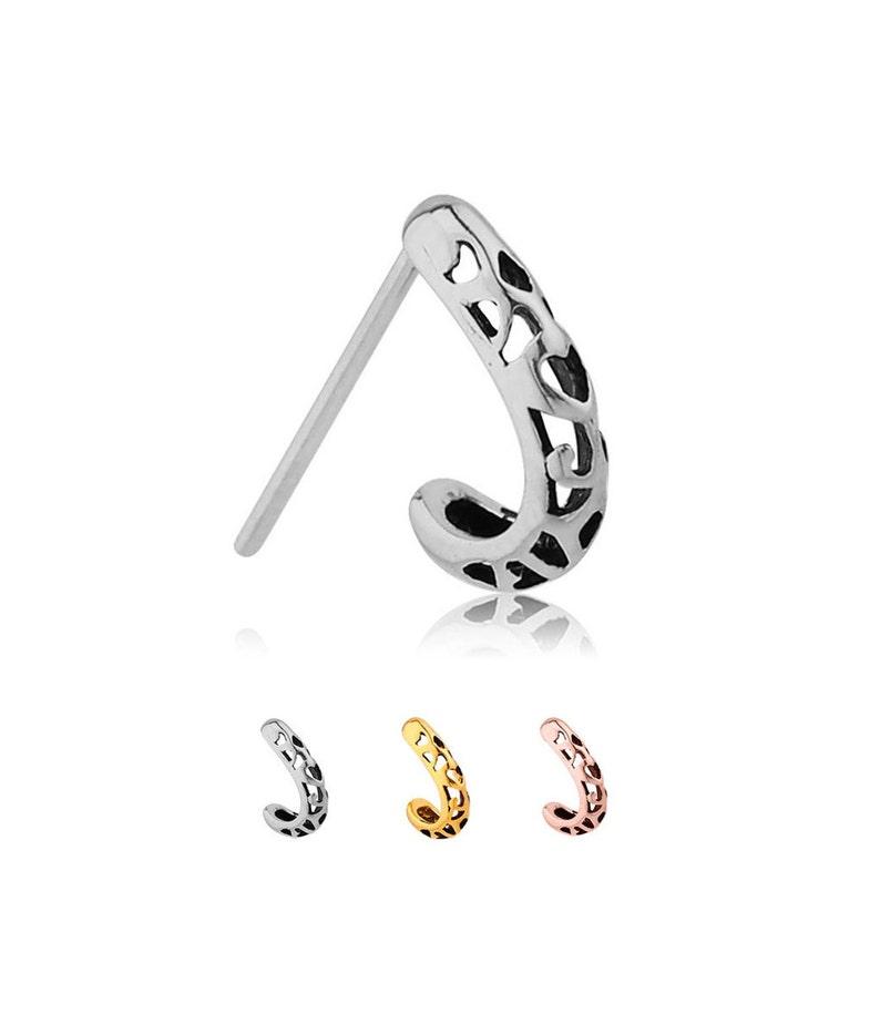 Choose Your Specifics 316L Surgical Steel Nose Hugger Stud Ring Fleur De Lis