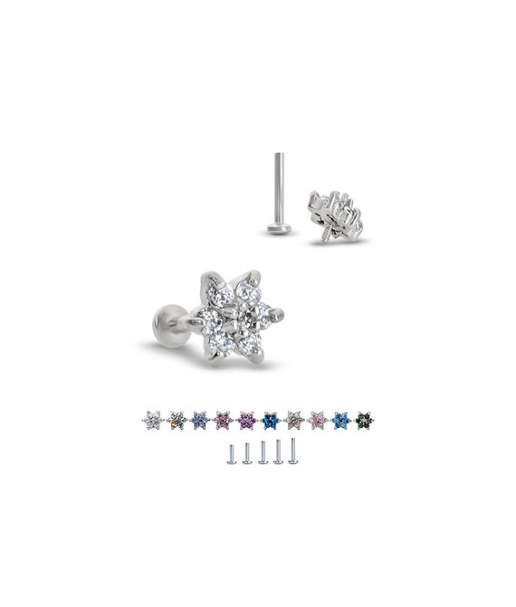 Titanium Labret Style Nose Stud Monroe Ring Screw Post Ball 18G 16G