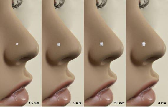 Rose Gold Plated 316L Surgical Steel Clear CZ Grand Plumeria Nose Ring Stud Choose Your Style 20G FREE Backing