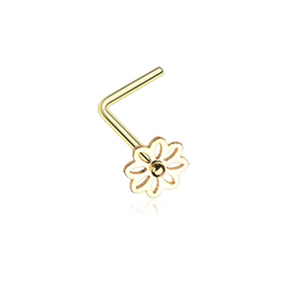 Gold Plated 316L Surgical Steel Nose Stud LBend Screw 1.5mm Disc 22G 20G 18G