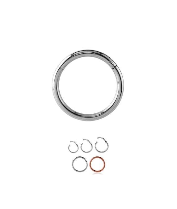 Rose 925 Sterling Silver Reversible Hinged Septum Nose Ring Hoop Tear Drop 16G