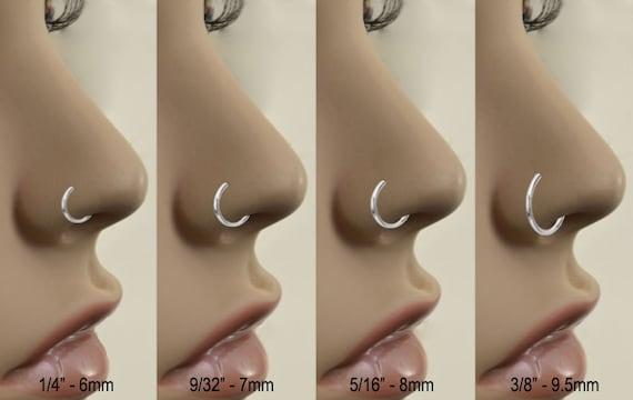 38 20G 316L Surgical Steel Rose Gold Nose Ring Hoop Daith Helix Ear Cartilage Flower Nose Hoop Choose Your Color /& Size 516