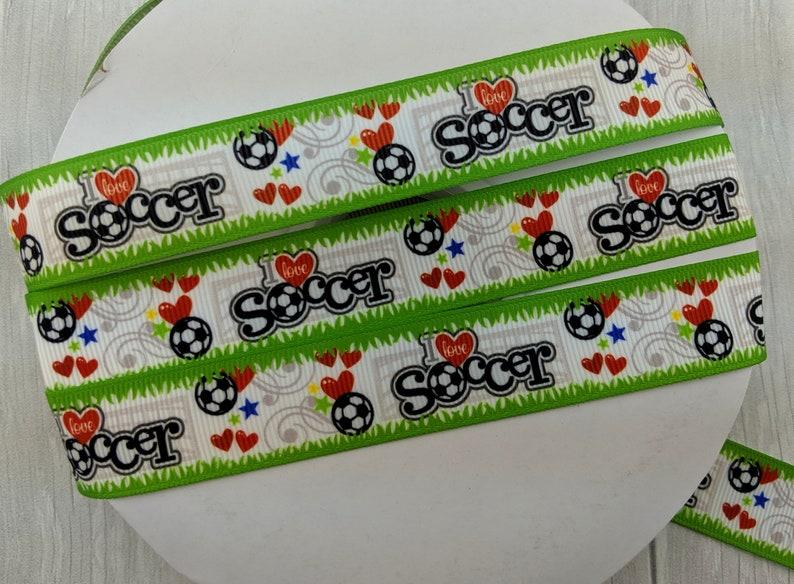 78 I Love Soccer Grosgrain Ribbon-1 Yard 1 Yard