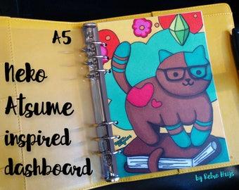Neko Atsume cat, Sims, inspired A5 planner dashboard | Illustration by Rosana Kooymans | for Filofax, Carpe Diem, Kikki K, Dokibook