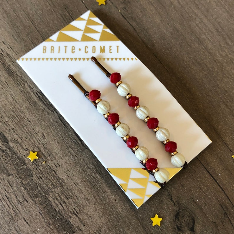 Hair Pin Gifts for under 20 Small gifts Holiday Red and White Beaded Bobby Pins Hair Accessory