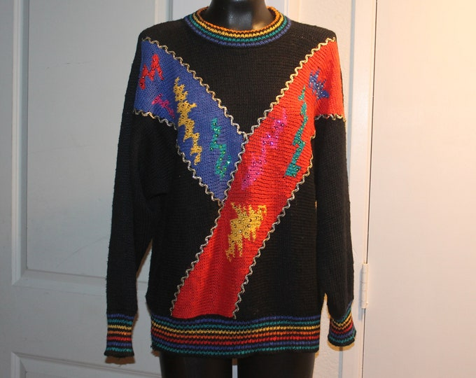 Vintage multicolor super fun designed sweater MarieaKim rainbow neckline cuff and hemline trim