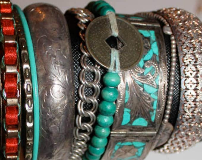 turquoise adjustable foreign good luck coin bohemian chic bracelet