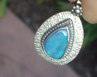 VINTAGE Sterling Silver Stellar Teardrop Pendant Necklace Handmade with Blue Opal Stone
