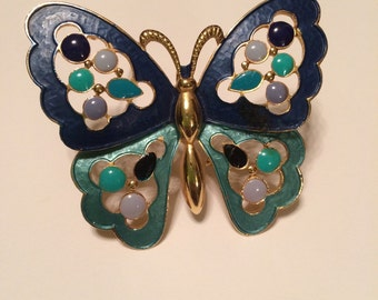 Beautiful Vintage Butterfly with Blue Hues Enamel Brooch Gold tone metal High Fashion pin Mod Art Deco