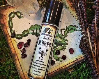 SCORPIO ZODIAC OIL, Astrology Perfume, Roll On Bottle, Garnet, Herbs, Essential Oils, Anointing, Ritual, Sun Sign Oct 24 - Nov 22, Horoscope