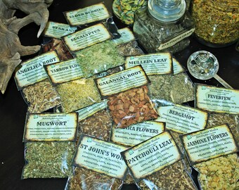 13 Custom HERB SET, Create Your Own Herb Kit ~ Select from Over 85 Herbs, Herbal Witches Apothecary