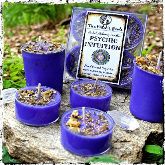 PSYCHIC INTUITION   Herbal Alchemy Spell Candles   Soy Votive or Tealights   Visions, Awareness   The Witch's Guide