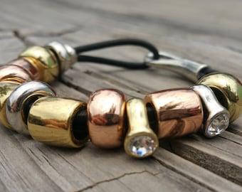 Chunky multi-color charm bracelet