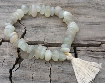 Gorgeous Moonstone stretch gemstone bracelet with tassel charm