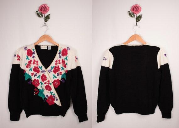 80s 90s beaded surplice sweater // puff sleeves /… - image 7