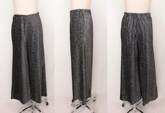70s silver metallic palazzo pants // elastic waist - image 7