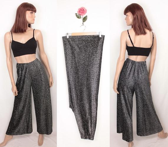 70s silver metallic palazzo pants // elastic waist - image 1
