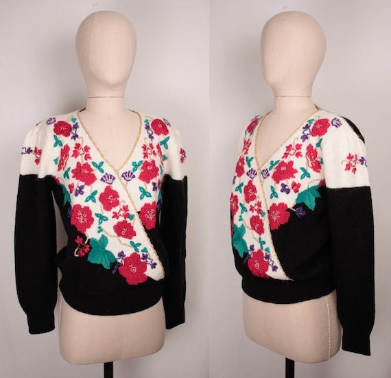 80s 90s beaded surplice sweater // puff sleeves /… - image 5