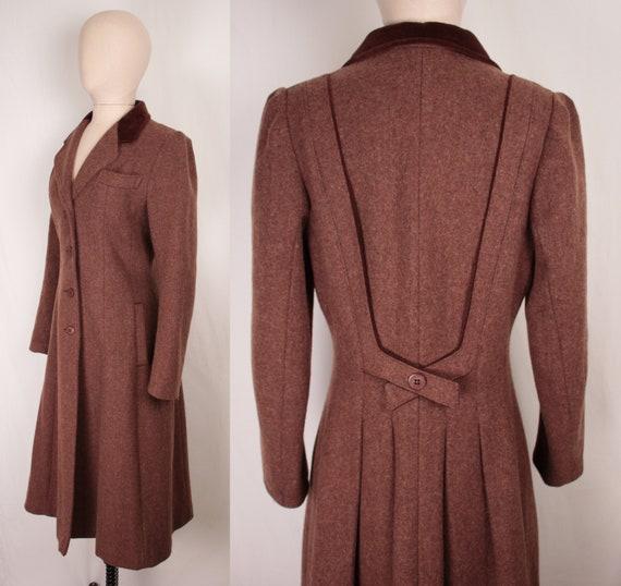 70s wool princess coat // velvet trim