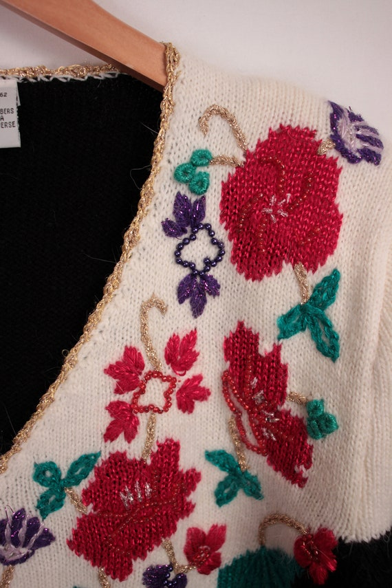 80s 90s beaded surplice sweater // puff sleeves /… - image 4