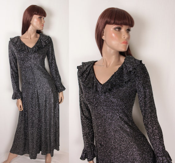 70s sparkle maxi // ruffled collar and sleeves